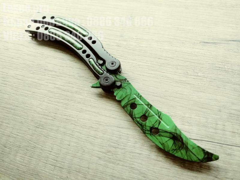 Нож сгъваем тип пеперуда CS GO - зелен