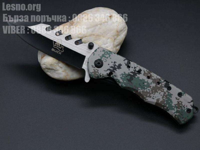 Сгъваем полуавтоматичен нож BUCK с камуфлажна  ABS дръжка