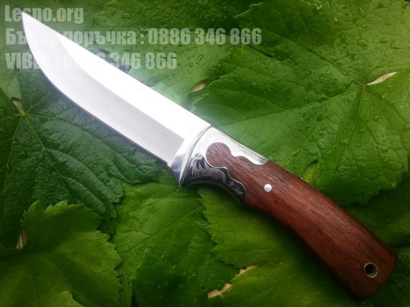 Ловен нож масивен голям за колекция с фултанг конструкция и гард с флорални мотиви