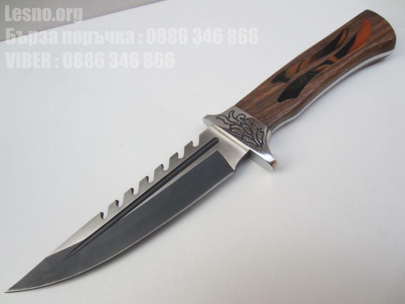 Ловен нож с калъф и дървена дръжка hunting knife