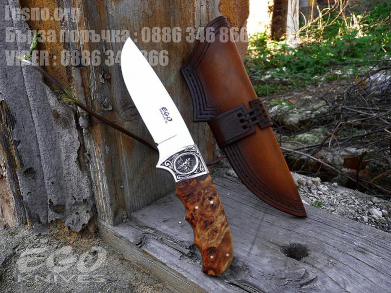 Красив ловен нож с дървена дръжка от елша и бронзов гард - ръчна изработка