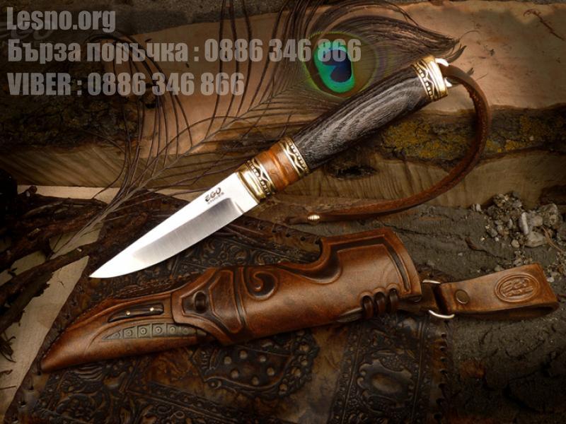 Ръчна изработка ловен нож с дръжка  от турски орех в комбинация с дъб