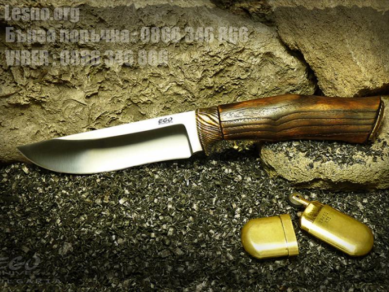 Класически ловно - туристически нож с кания от естествена кожа