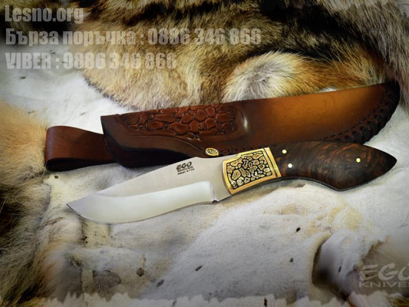 Ловен нож с дръжка изработена от корен на орех и бронзов гард