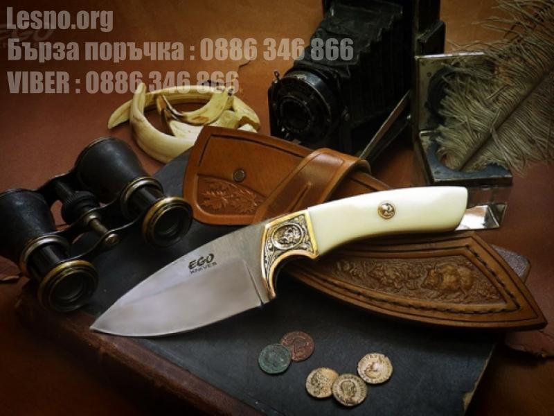 Ловен нож ръчна изработка с чирени от  кост и бронзов гард- колекционерски