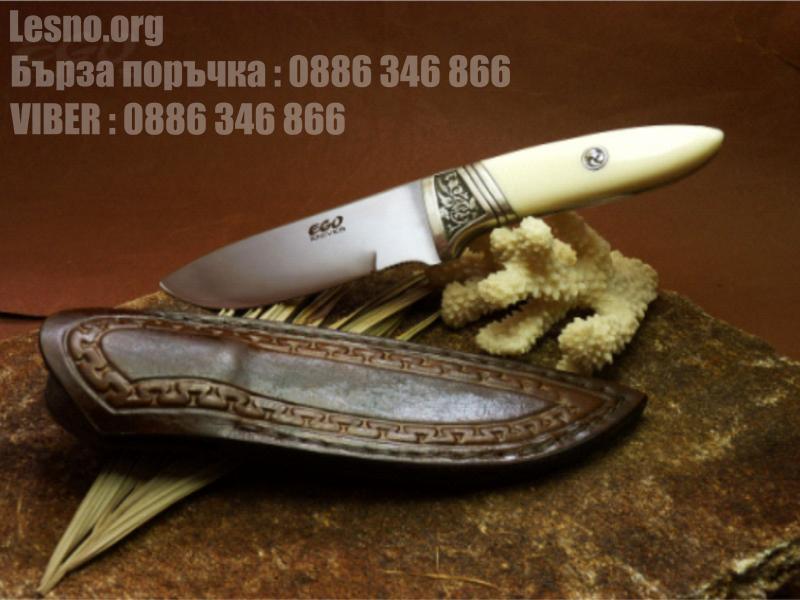 Ръчна изработка на красив ловен нож с дръжка от турски орех и бронз