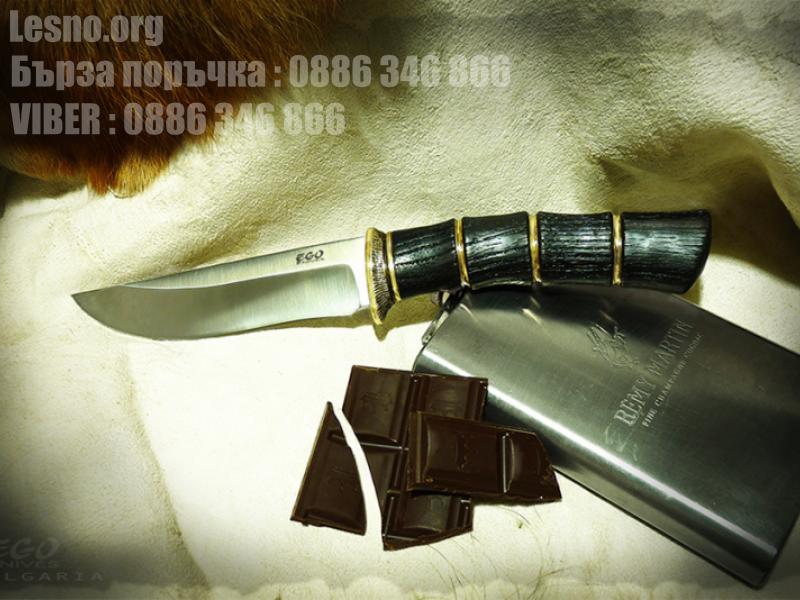 Красив ловен нож с дръжка от турски дъб и бронз - ръчна изработка