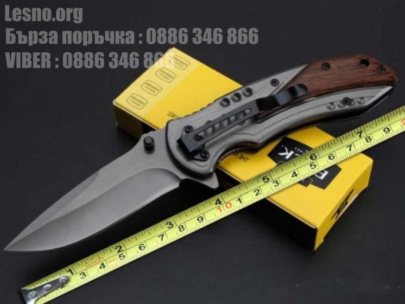 Сгъваем полуавтоматичен нож Buck с дръжка стоманена облицовка с дървен обков