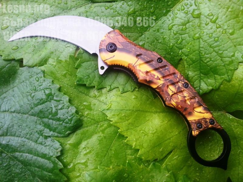Карамбит полуавтоматичен FOX CS GO сгъваем нож с кафява камуфлажна дръжка