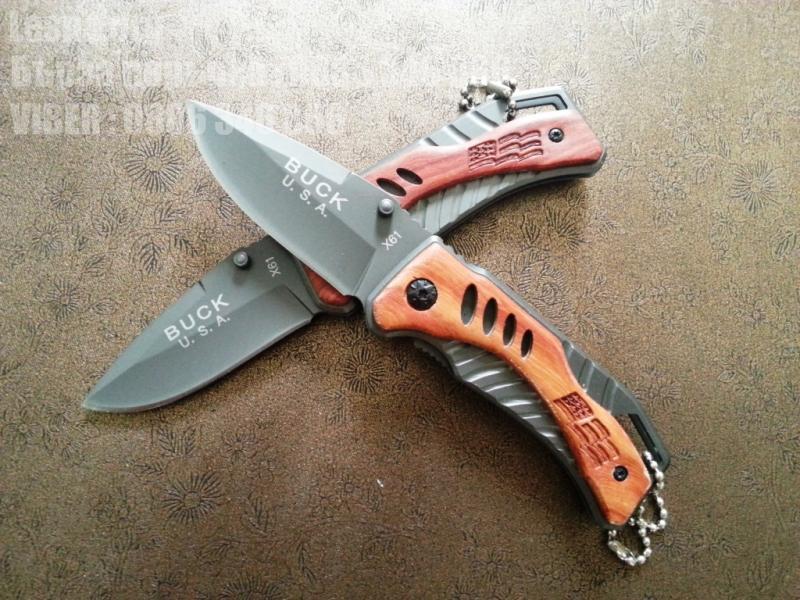 Сгъваем компактен джобен нож Buck с дървени чирени
